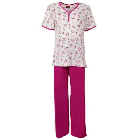 Medaillon Dames Pyjama korte mouw gebloemd Fuchsia rood MEPYD1106B