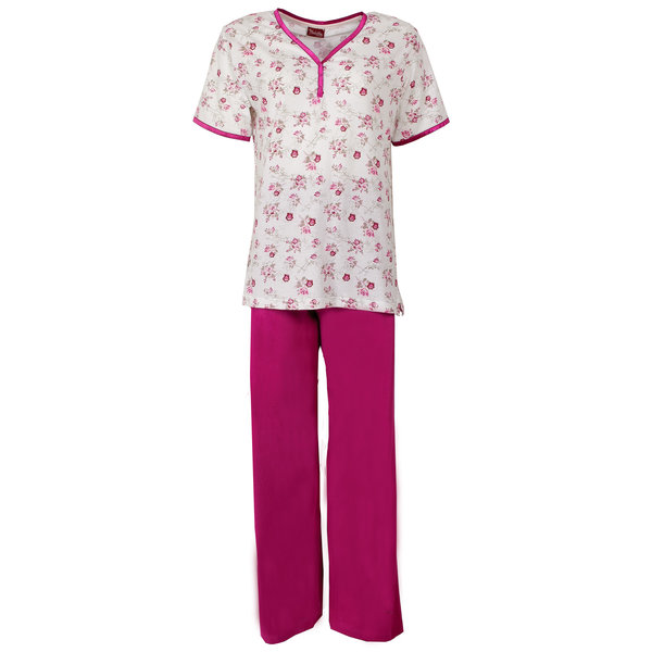 Medaillon Medaillon Dames Pyjama korte mouw gebloemd Fuchsia rood MEPYD1106B