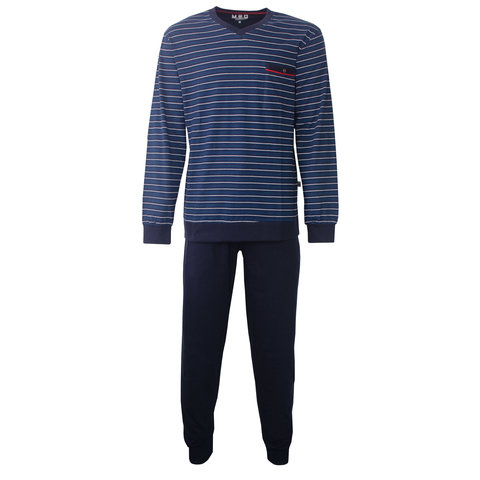 M.E.Q. Heren pyjama donker blauw streep MEPYH2803A