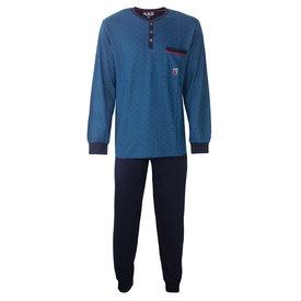M.E.Q M.E.Q. Heren pyjama blauw geprint dessin  MEPYH2804A