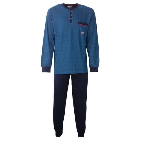 M.E.Q. Heren pyjama blauw geprint dessin  MEPYH2804A