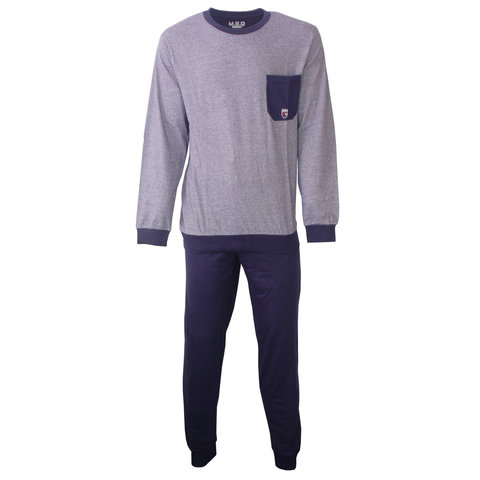 M.E.Q. Heren pyjama fijn streep dessin blauw  MEPYH2806A