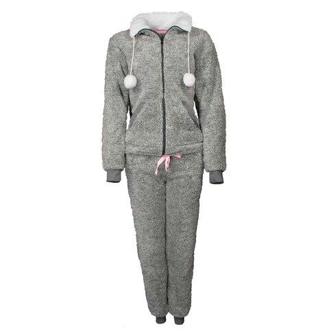 Tenderness dames luxe huispak deelbare rits in grijs melange TEHSD2801B