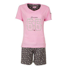 Irresistible Irresistible Dames Shortama Slaapsetje Roze Grijs IRSAD1602B