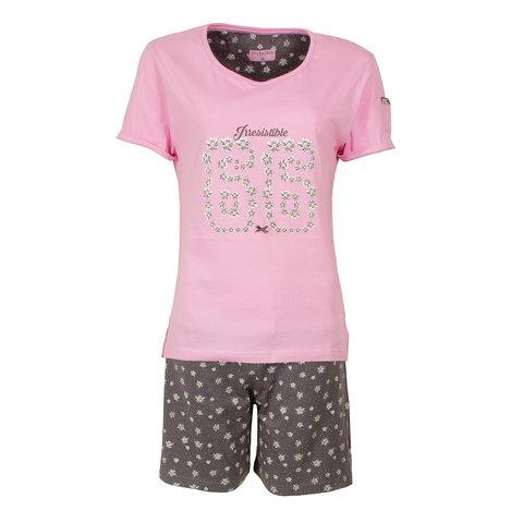Irresistible Dames Shortama Slaapsetje Roze Grijs IRSAD1602B