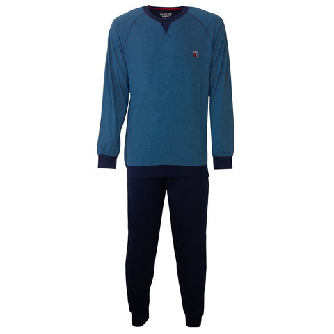 M.E.Q. Heren pyjama blauw melange MEPYH2801A