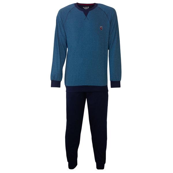 M.E.Q M.E.Q. Heren pyjama blauw melange MEPYH2801A