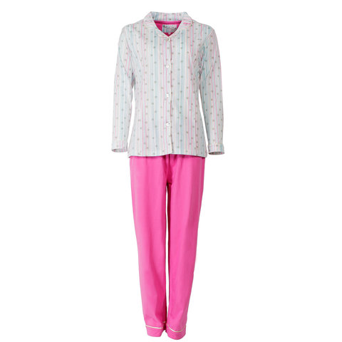 Medaillon Dames Pyjama Roze gestreept  - MEPYD1404C