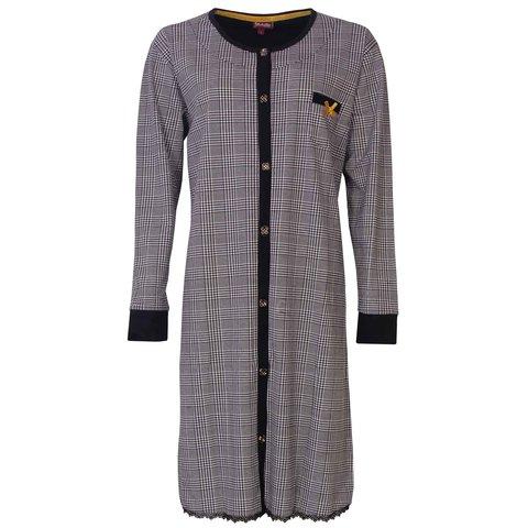 Medaillon dames doorknoop nachthemd  Zwart MENGD2803A