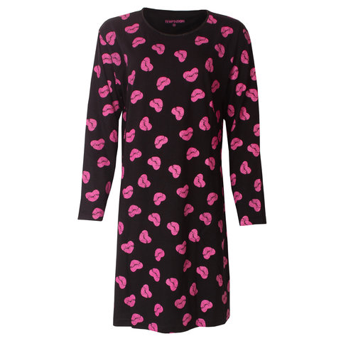 Temptation  Dames Bigshirt nachthemd slaapkleed Zwart TPNGD2814A