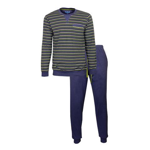 M.E.Q. Heren pyjama streep dessin blauw  MEPYH2903A