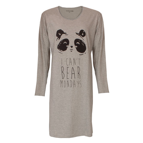Temptation  Dames Bigshirt nachthemd Grey Melange TPNGD2817A