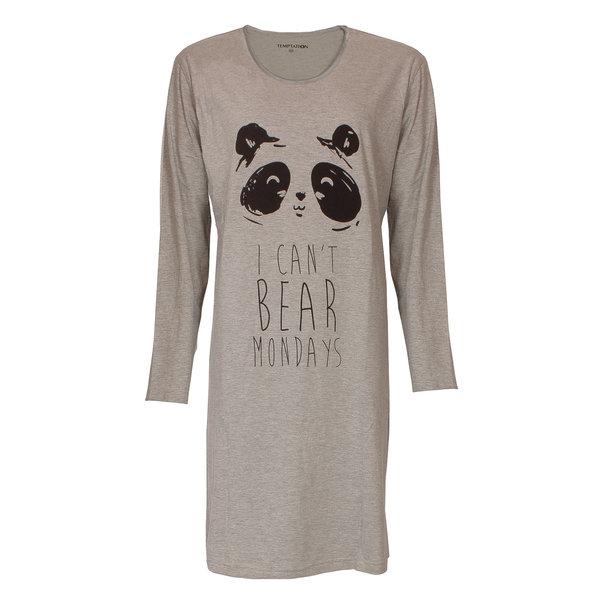 Temptation Temptation  Dames Bigshirt nachthemd Grey Melange TPNGD2817A