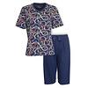 Medaillon Dames Pyjama Drie Kwart Broek Blauw MEPYD1002A