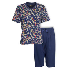 Medaillon Medaillon Dames Pyjama Drie Kwart Broek Blauw MEPYD1002A