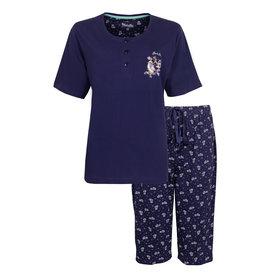 Medaillon Medaillon Dames Pyjama Drie Kwart Broek Blauw MEPYD1006A