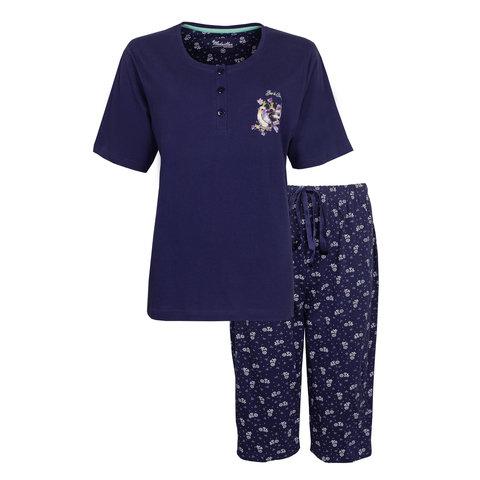 Medaillon Dames Pyjama Drie Kwart Broek Blauw MEPYD1006A