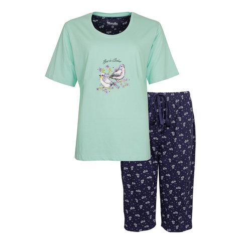Medaillon Dames Pyjama Drie Kwart Broek Groen/Blauw MEPYD1006B