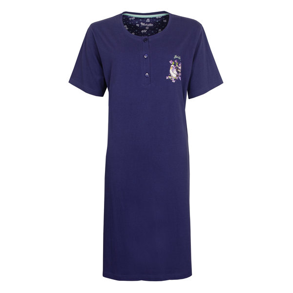 Medaillon Medaillon Dames Nachthemd Donker Blauw MENGD1004A
