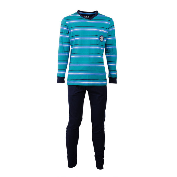 M.E.Q M.E.Q. Heren pyjama Blauw MEPYH1701B