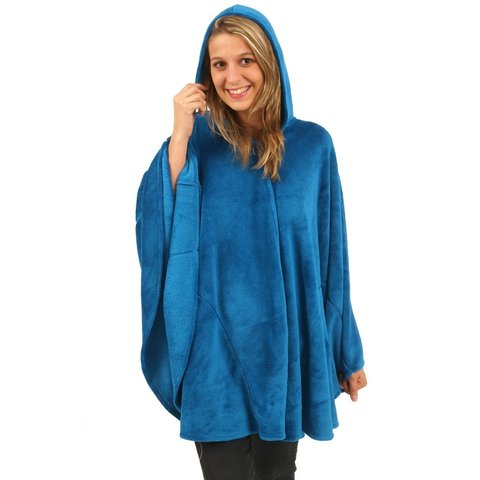 Irresistible dames poncho capuchon - Hemels Blauw IRCTD2001A