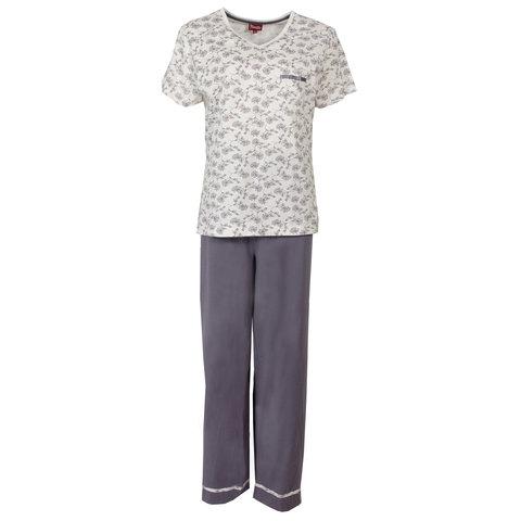 Medaillon dames pyjama gebroken wit/paars MEPYD1305A