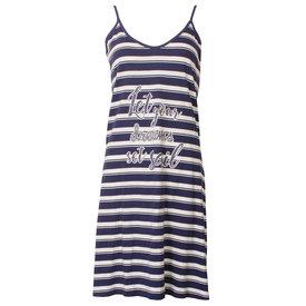 Tenderness Tenderness Donker blauw-Wit gestreept dames nachthemd TENGD1813A
