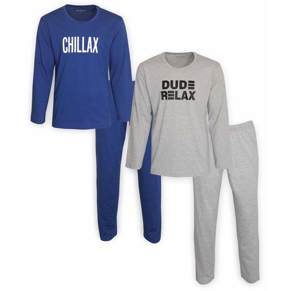 Merkloos Aprox DUO-PACK heren pyjama Kobalblauw & Grijs Melange AXPYH1101X