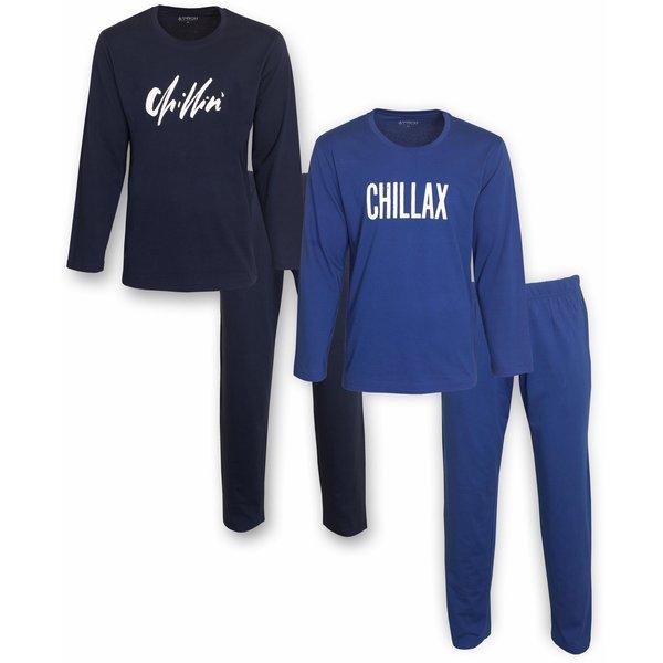 Merkloos Aprox DUO-PACK heren pyjama Kobalblauw & Donker Blauw AXPYH1101Y