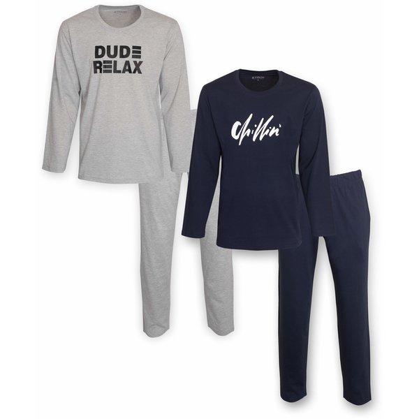 Merkloos Aprox DUO-PACK heren pyjama Donker Blauw & Grijs Melange  AXPYH1101Z