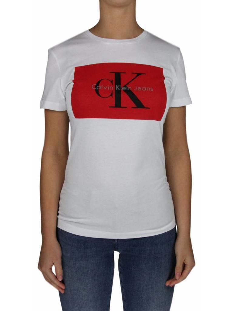 a65a258ac2c9 Calvin Klein Calvin Klein Tanya 40 Cn Tee Bright White Tango Red - OUTFIT  online .com • men women kids