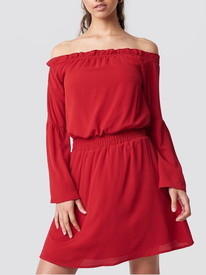 379e8de3fd3 NA-KD Off Shoulder Dress Wide Sleeve Red