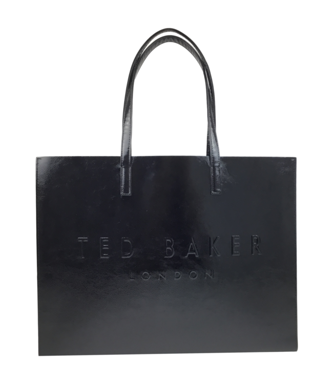 Ted Baker Aevacon Crinkle Patent Embossed Xhatch Icon Black
