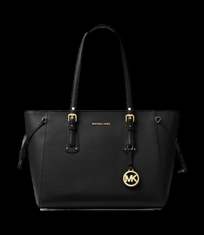 Michael Kors Voyager Medium Crossgrain Leather Tote Bag Black