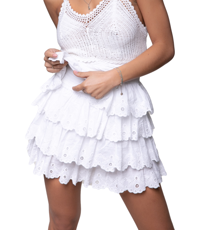 Colorful Rebel Nuna Broderie Anglaise Layer Mini Skirt Offwhite