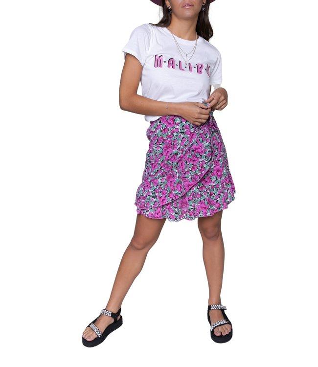 Colourful Rebel Shelby Flower Mini Wrap Skirt Pink
