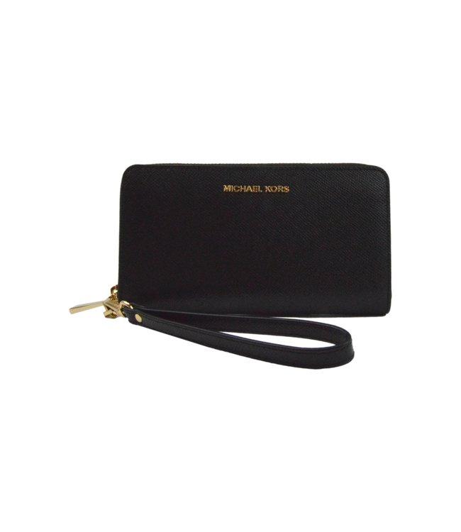 Michael Kors Jet Set Wallet Leather Gold Black