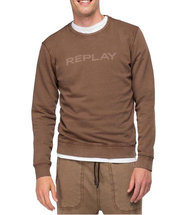 Replay Sweatshirt Organic Cotton Front Print Brown