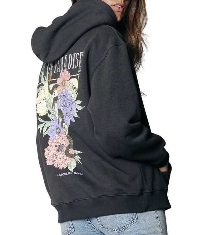 Colorful Rebel Paradise Snake Oversized Hoodie Anthracite