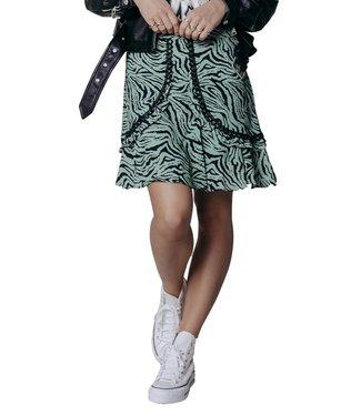 Colourful Rebel Maud Zebra Mini Ruffle Skirt Dark Mint