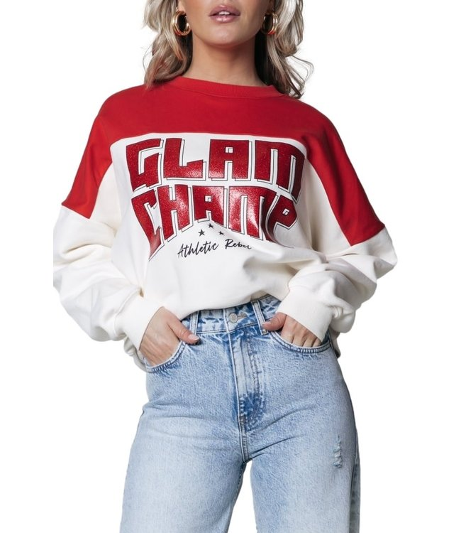 Colorful Rebel Glam Champ Dropped Shoulder Sweat Off White