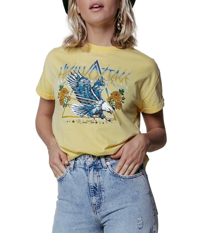 Colorful Rebel High Voltage Boxy Tee Women Yellow