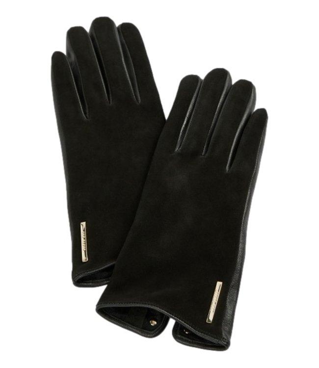Ted Baker Arlett Suede Whipstitch Detail Glove Black