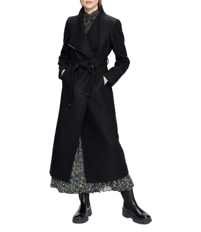 Ted Baker Rosell Long Lenght Wool Wrap Coat Black