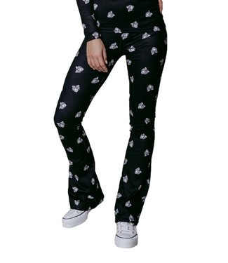 Colourful Rebel Tiger Face Peached Flare Pants Black