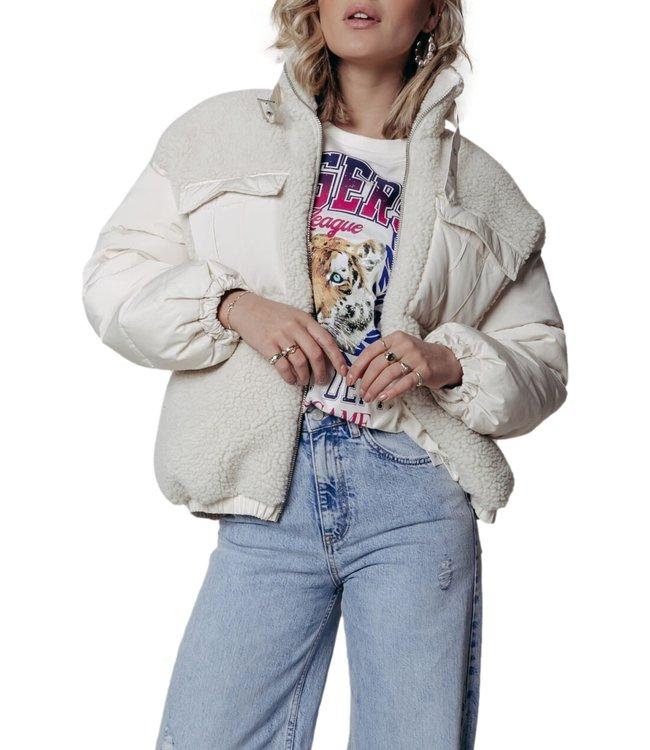 Colourful Rebel Stef Teddy Puffer Jacket Beige