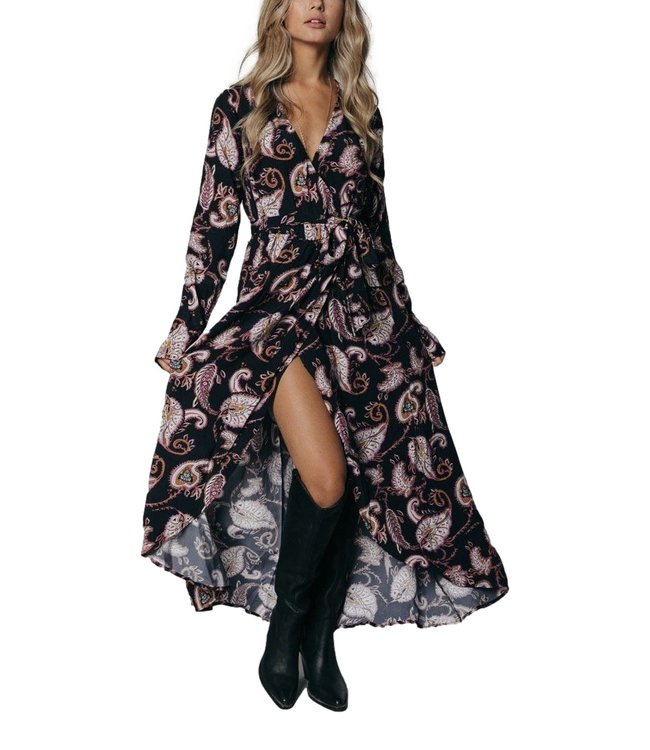 Colorful Rebel 9246 Maya Paisley Wrap Maxi Dress Black