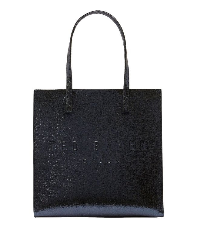 Ted Baker Abzcon Crinkle Patent Embossed Large Icon Bag Dark Blue