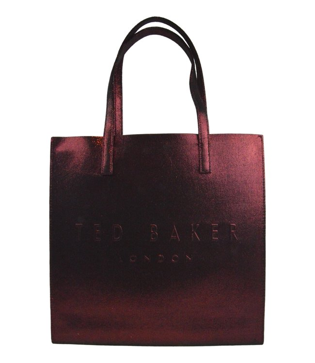 Ted Baker Abzcon Crinkle Patent Embossed Large Icon Bag Dark Red