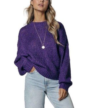 Colourful Rebel Olivia Crew Neck Sweater Medium Purple